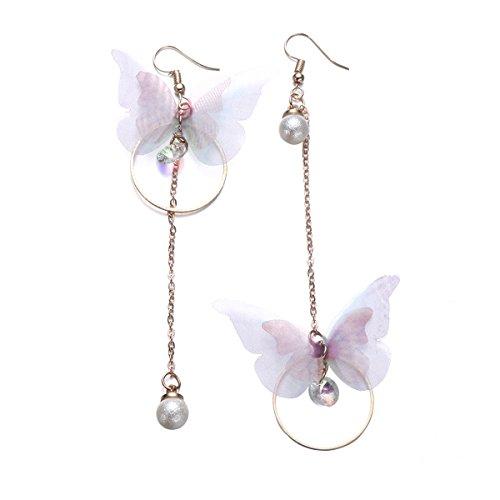 Fenical Damen Asymmetrische Ohrringe Ohrhänger Schmetterling mit Ring Perlen für Party Strand Geburtstag Hochzeit Jahrestag (Gold)