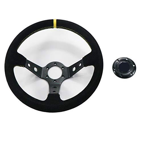 Mminb0 Ajuste para SPAC * O Drift Drift Drift Suede Cuero Antideslizante Sports Sports Rueda de dirección para 14 Pulgadas 350 mm Carreras Ajuste para BMW E46 E60 (Color : Black)