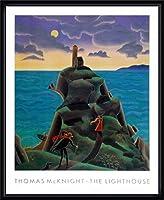 ポスター トーマス マックナイト ライトハウス 額装品 ウッドハイグレードフレーム(ブラック)