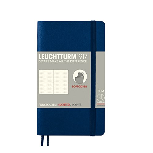 LEUCHTTURM1917 349304 Notizbuch Pocket (A6), Softcover, 123 nummerierte Seiten, dotted, Marine
