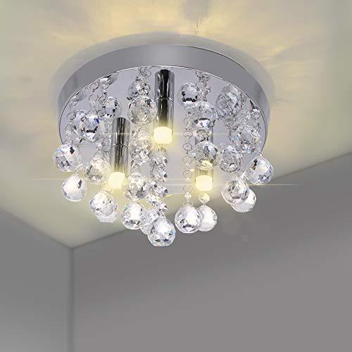 DEBEME Lampadario Moderno in Cristallo da Incasso, Plafoniere Rotonde Cromate, Lampada a Sospensione a LED, per Soggiorno Camera da Letto