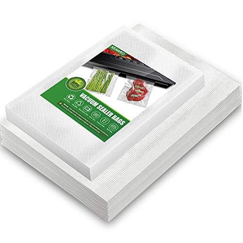 KEAWEO Bolsas de Vacio para Alimentos, 100 Bolsa Gofrada Envasado (15x25cm/ 50PCs & 20x30cm/ 50PCs), sin BPA, Solsas de Vacio Gofradas para Conservación de Alimentos y Sous Vide Cocina & Boilable