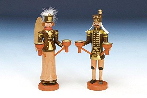 Weihnachtsfiguren Engel und Bergmann, natur – Holzengel - Weihnachtsengel – Holzfiguren – Höhe 23 cm - Handarbeit aus dem Erzgebirge - NEU
