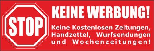 Keine Werbung! 1 roter Briefkastenaufkleber 105x35 mm- Keine kostenlosen Zeitungen, Handzettel, Wurfsendungen und Wochenzeitungen!