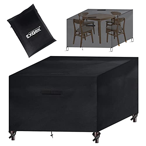 EXGOX Garden Furniture Cover Outdoor Waterproof Furniture Covers Windproof Patio Table Covers with Handle Design Cover for Table Chair Sofa,420D Oxford Fabric(123 * 123 * 74cm
