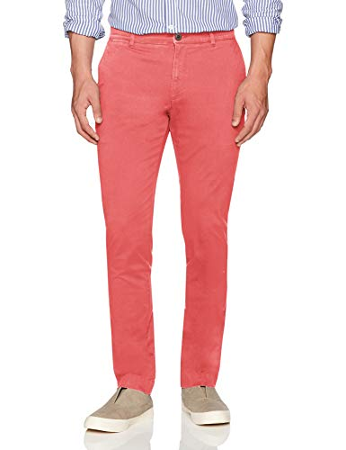 Amazon Brand - Goodthreads Men's Slim-Fit Washed Stretch Chino Pant, Washed Red, 35W x 30L