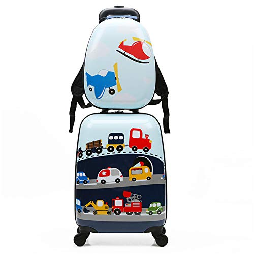 MountRise-Bags Juego de Equipaje de Viaje para niños con 18 Pulgadas, 2 Piezas de patrón de Dibujos Animados de Animales Maleta Dura con Ruedas, Ideal para niños, Escuela, Presente,Cars,18inches