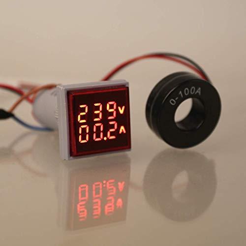 amiciSmart Voltage/Current Meter LED Display Voltmeter Ammeter AC 60-500 V 0-100A(Red) (Single Pack)