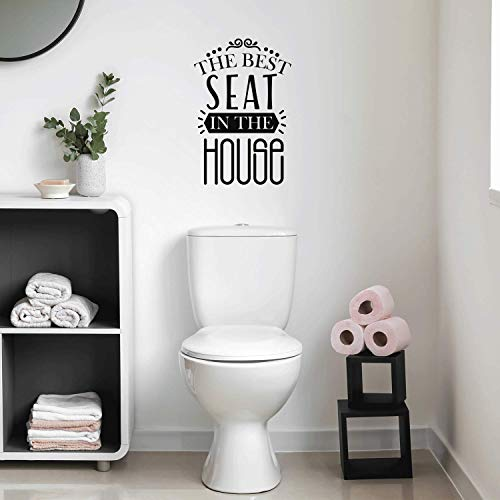 """Vinyl Wall Art Decal - The Best Seat in The House - 25.5"""" x 17"""" - Trendy Funny Sarcastic Bathroom Door Quote for Home Apartment Bedroom Kids Room Decoration Sticker (Black)"""