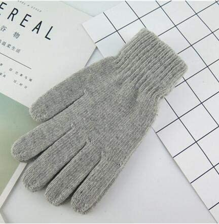 JBIVWW Autumn and Winter Men's Fashion Solid Color Knitted Gloves Male Thicken Thermal Warm Black Knitted Gloves Mittens (Color : Light Gray)