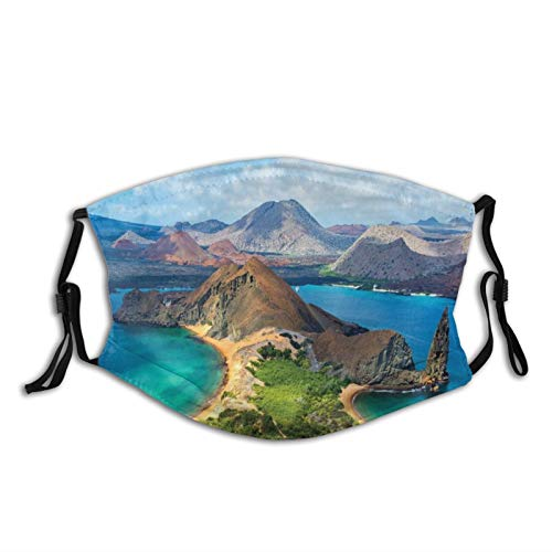 Breathable Soft Facial Protective Cover,Galapagos Bartolome Island Pacific Ocean Latin America Scenery Volcanic Mountains Unisex Washable Reusable Facial Decorations For Personal Protection