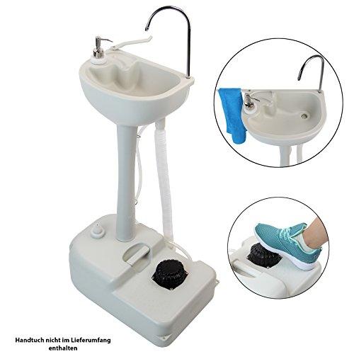 BB Sport Mobiles Camping Waschbecken 19l für Handdesinfektion Frischwassertank mit Fußpumpe und Seifenspender Outdoor Spülbecken
