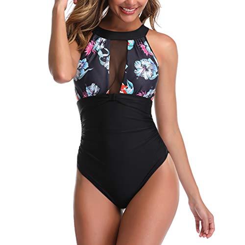 Reciy Traje de baño de una pieza de malla de Monokini de los bañadores del traje de baño de la panza ontrol flor para Mujer Estados Unidos 3436 C