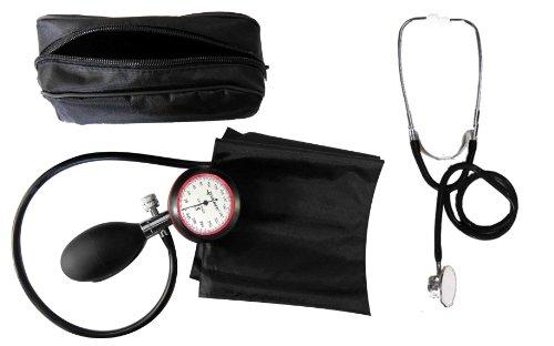 Blutdruckmessgerät 1-Schlauch + Stethoskop Doppelkopf schwarz Doppelkopfstethoskop - Stetoskop plus RR-Gerät