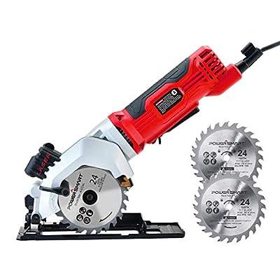 PowerSmart Circular Saw, 24T 4-1/2 Electric Circular Saw, 4Amp 3500RPM Power Saw, Mini Circular Saw with Laser Guide, Two Saw Blade Included, PS4005 by Amerisun Inc.