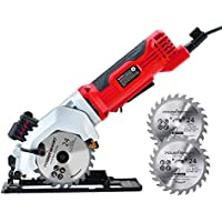 PowerSmart 24T 4-1/2 Compact Circular Saw with Laser Cutting Guide, 2 Blades (PS4005)