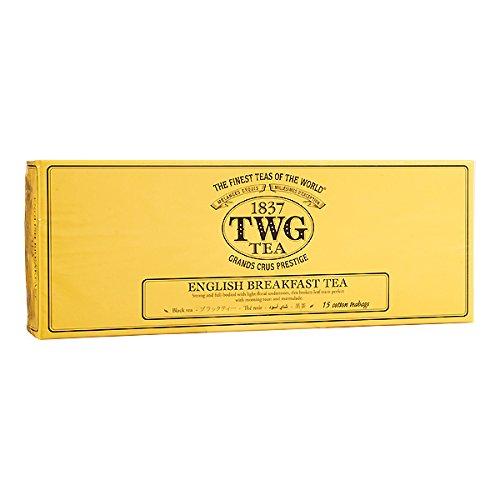 TWG Singapore - The Finest Teas of the World - ENGLISH BREAKFAST - 15 Handnaht Teebeutel aus reiner Baumwolle