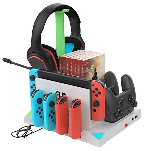 FYOUNG Base de carga para controladores de interruptor y Joy-Cons y Pro, estación de carga organizada para Nintendo Switch, controladores, tarjeta de juego, bola Poké y auriculares, color blanco