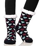 Dosoni Women's Fleece Lining Fuzzy Soft Warm Winter Christmas Slipper Socks (Heart Dark Blue)