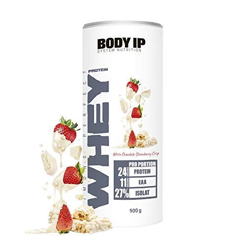 BODY IP Simons Perfect Whey Protein | Eiweißpulver für den Muskelaufbau | White Chocolate Strawberry Crisp | hoher BCAA und EAA Anteil | 30 Portionen