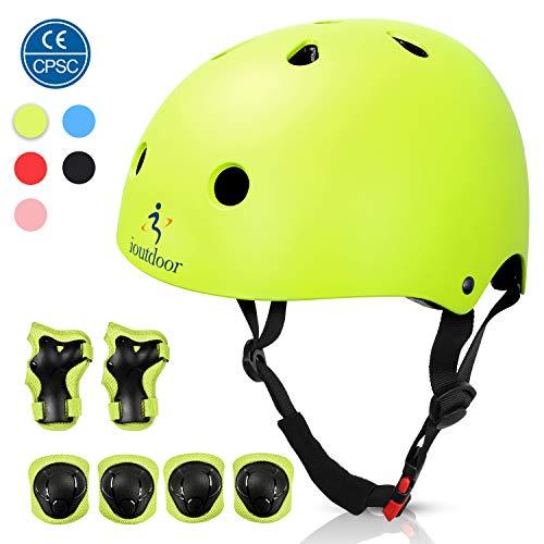 ioutdoor Kinderhelm, Fahrradhelm Einstellbar für Kleinkinder, Jungen, Mädchen, Jugendliche, CPSC-Zertifiziert, Schutzausrüstung, für Radfahren, Skaten, Snowboarden (Grün mit Schutzausrüstung, S)