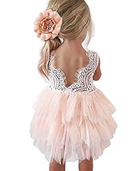 Topmaker Backless A-line Lace Back Flower Girl Dress  6-12 Month Pink