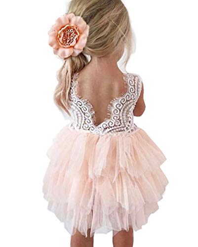 Topmaker Backless A-line Lace Back Flower Girl Dress (3T, Beaded-Pink)