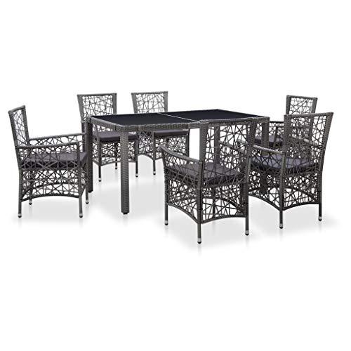 pedkit Silla Ratan Exterior Conjuntos Sofa Exterior Juego de Comedor de jardín 7 Piezas de ratán sintético Gris
