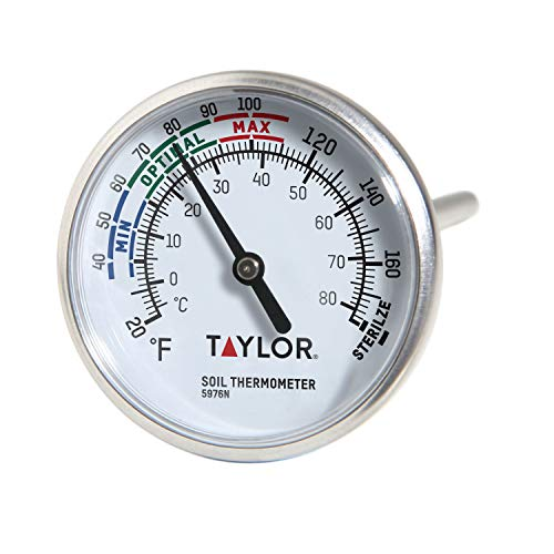 Taylor Precision Products - 5976N B0030JWAVA Soil Testing Thermometer, 4' Stem, -20 to 180 Degrees F