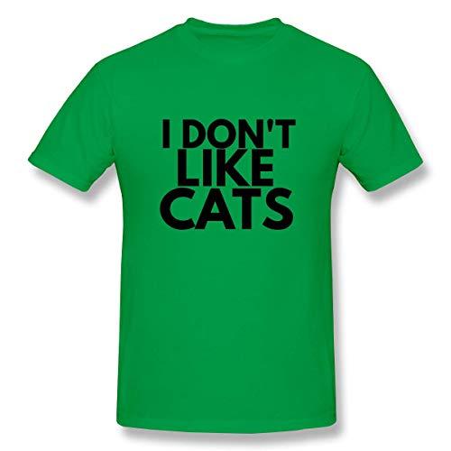 HuXiHuXiHu T-Shirt Sportive Top e Bluse, I Dont Like Cats Funny Leisure Shirt Tee Short Sleeve T-Shirt for Mens White
