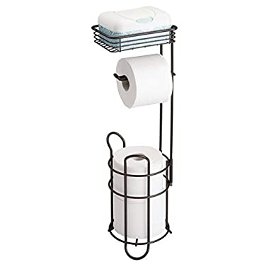 mDesign Freestanding Metal Wire Toilet Paper Roll Dispenser Holder and Extra Roll Reserve with Storage Shelf for Cell, Mobile Phone - Bathroom Storage Organization - Holds 3 Rolls - Bronze