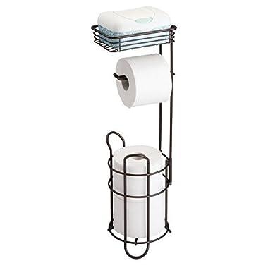 mDesign Freestanding Steel metal wire Toilet Paper Tissue Dispenser and Extra Rolls Holder Reserve with Storage Cellphone Shelf for Bathroom Storage Organization - Bronze