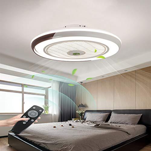 LLDS LED Fan Plafonnier Moderne Nordique Dimmable Ventilateur Au Plafond avec Lampe Ultra-Mince Invisible Lustre De Ventilateur Ultra Silencieux Chambre Salon Fan Lumière Éclairage