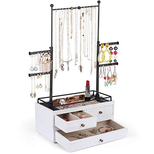 Organizador de joyas – Caja de almacenamiento de madera de 2 capas con soporte de árbol de joyería de 6 niveles, exhibición de joyas para collares, pulseras, pendientes, anillos (negro carbonizado)
