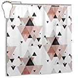 Noick Geometric Compilation in Rose Gold and Blush Pink Boutique Shower Curtain Hooks Polyester Home Decor 72x72inch