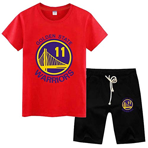 Camiseta de Verano Camiseta de los Hombres de la NBA Golden State Warriors Thompson 11# Cotton Training Shirt Student Set Ropa Deportiva (Color : Red3, Size : M)