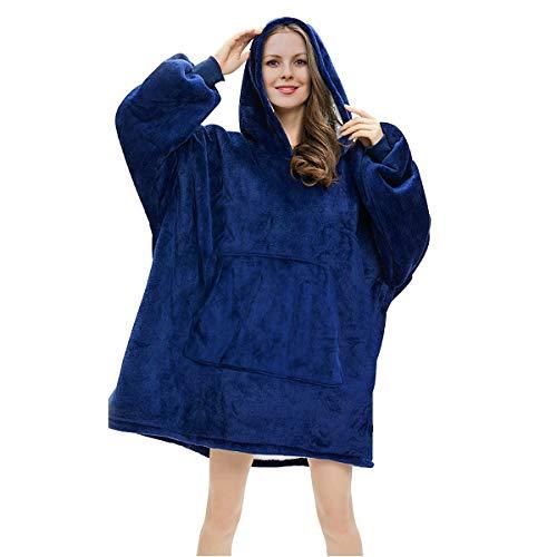 RainRose Pullover Damen, Oversize Sherpa Deckenpullover, Blanket Hoodie Sweatshirt Decke, Geschenke für Frauen Decke mit ärmel, Weicher Warmer Kapuzen Hoodie Einheitsgröße für Damen, Herren