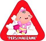 Pegatina Bebé a Bordo personalizable. Adhesivo vinilo para coche o moto. Sticker 15 x 13'7 cm.