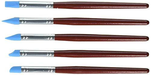 Meta-U 5 Penne/pennelli per dare forma al colore in silicone con punta flessibile in gomma blu e manico in legno rosso