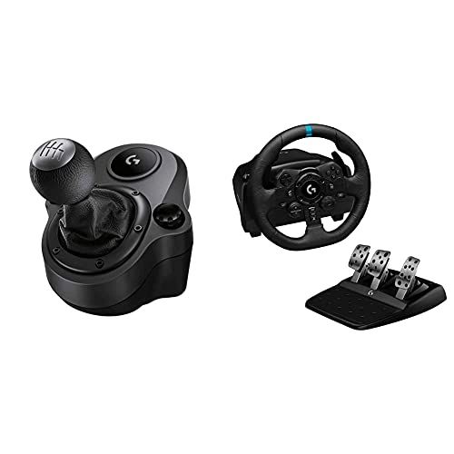 Logitech G Driving Force Shifter with Logitech G923 Racing Wheel and Pedals for PS 5, PS4 and PC and Genuine Leather Wheel Cover