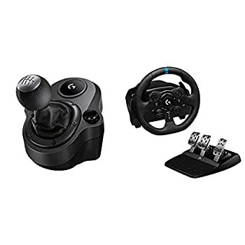 Logitech G Driving Force Shifter with Logitech G923 Racing Wheel and Pedals for PS 5 PS4 and PC and Genuine Leather Wheel Cover