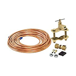 Ice maker tap valve with copper tubing.