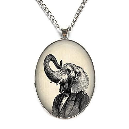 Collar de elefante Steampunk Elefante Joyería Collar Wearable Arte Colgante Colgante Colgante Colgante de Elefante-#110