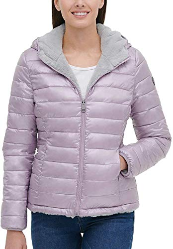 Andrew Marc Ladies' Ultra Soft Attached Hood Reversible Jacket (XXL, Shine Lavende)