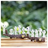 Princesa Mononoke Resina Adorno,Kodama Luminous Tree Elfos Decoración de Jardín en Miniatura(10 Unids/Set),para Jardinería al Aire Libre,Hogar y el Jardín Decoración de Macetas