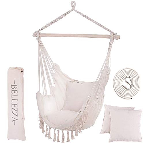 Bellezza Hammock Chair Swing - Oversized Hanging Chair with XL Luxury Cushions - for Indoor and Outdoor Use - Includes Carry Case, Hook and Rope - Hanging Chairs for Bedrooms has Max Weight 330 lbs