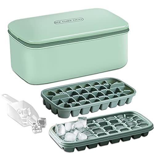 Ealicere Eiswürfelschale aus Kunststoff, mehrschichtige hausgemachte Gefrorene Eiswürfelform Kühlschrank Eisbox mit Deckel Hause Eisbox, Kunststoff, grün,64-Fach