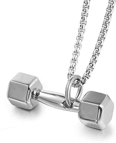 LKLFC Collar para Mujer Collar para Hombre Colgante Fitness mancuerna Colgante Collar Colgante de Acero de Titanio Regalo Personalizado para Novio Collar Colgante Regalo para niñas niños