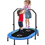 Merax Folding 2 Kids Rebounder Trampoline for Jump Sports with Adjustable Handrail and Safety Cover