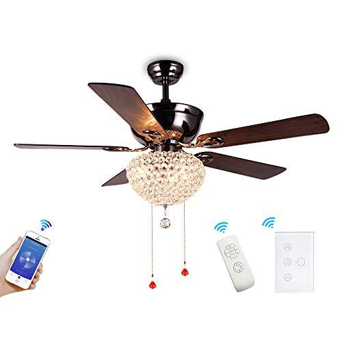BENEXMART Hélice inteligente wifi moderno ventilador de techo de 3 hojas con kit de luz LED APP/Voice/Touch Control Compatible con Alexa y Google Home (3 cuchillas)